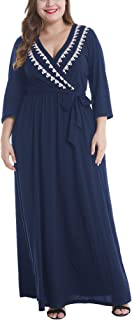 Womens Knit Plus Size Dress,Solid 3/4 Sleeve V-Neck Maxi Dress with Pocket