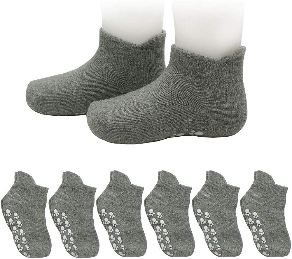 HonesBorn Cotton Stretch 6-Pack Anti Slip Socks, Non Skid Ankle Socks With Grips For Infants Toddler Boys Girls(Gray,12-36 Months)