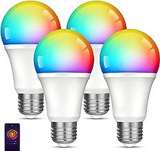 Tuya Smart Life-gloeilampen 4-pack, alleen 2,4 GHz, kleurveranderende lamp, werkt met Alexa, Google Home, dimbare led-lamp...