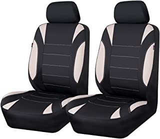 CAR PASS Holiday Sale Neoprene 6PCS Waterproof Two Front seat car seat Covers Set- Universal fit for Vehicles, Car with 5mm Composite Sponge Inside,Airbag Compatible (Black and Beige)
