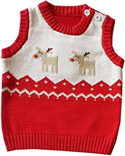 Little Unisex Baby Xmas Knitted Cotton Sweater Button-up Coat Christmas Elk Vest