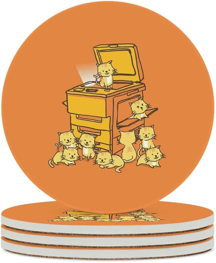Alskyonyg Cute Orange Houston Mall Cats Animal with Coaster Round Ceramic Award-winning store Cor