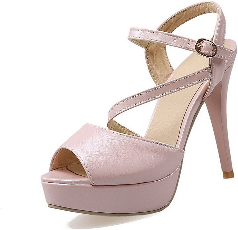 AmoonyFashion Women's Spikes Stilettos Solid Buckle Peep Toe Heeled-Sandals