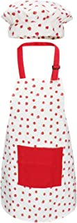Jennice House Apron for Kids Set with Chef Hat, Cute Children Baking Aprons with Adjustable Neck Strap and Pockets for Girls Boys Cooking Baking Painting Gardening in 2 Sizes (Red Strawberry, Small)