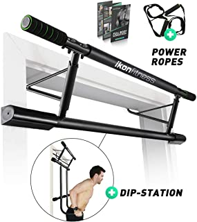 Ikonfitness Ultimate 4 in 1 Doorway Trainer – Raised Height Pull Up Bar, Dips Bar & Power Ropes for A Total Body Home Workout - USA Original Patent, USA Designed, USA Shipped, USA Warranty