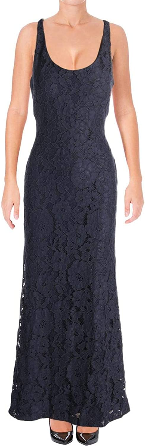 Ralph Lauren Womens Navy Lace Floral Sleeveless Scoop Neck Full Length Sheath Formal Dress US Size  6