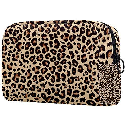 Bolso de viaje grande con diseño de leopardo para mujer, neceser de viaje y neceser de maquillaje con muchos bolsillos