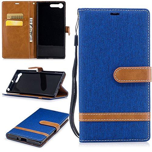 Jeewi Hülle für Sony [Xperia XZ Premium] Hülle Handyhülle [Standfunktion] [Kartenfach] [Magnetverschluss] Tasche Etui Schutzhülle lederhülle klapphülle für Sony Xperia XZ Premium - JEBF031182 Saphir