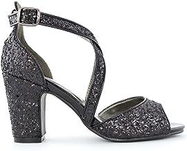 Amazon.co.uk: Black Glitter Heels