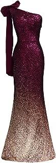 Women Sparkling Gradual Champagne Gold Sequin Mermaid Cap Sleeves Evening Dress Prom Dress 08999