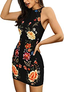 MISOMEE Women's Dress Floral Print Sleeveless Halter Neck Backless Bodycon Dress Summer Mini Dress
