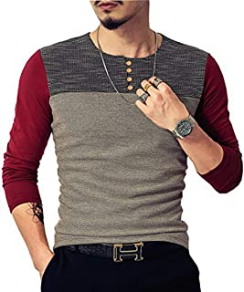 LOGEEYAR Mens Slim Fitted Casual Short/Long-Sleeve Button T-Shirts Contrast Color Stitching Tee