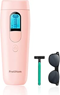 PretiHom IPL Hair Removal, Permanent Hair Removal For Women And Man IPL 900,000 Professional Painless Facial Body Hair Removal Device Anti-Allergy Home Use (Pink)