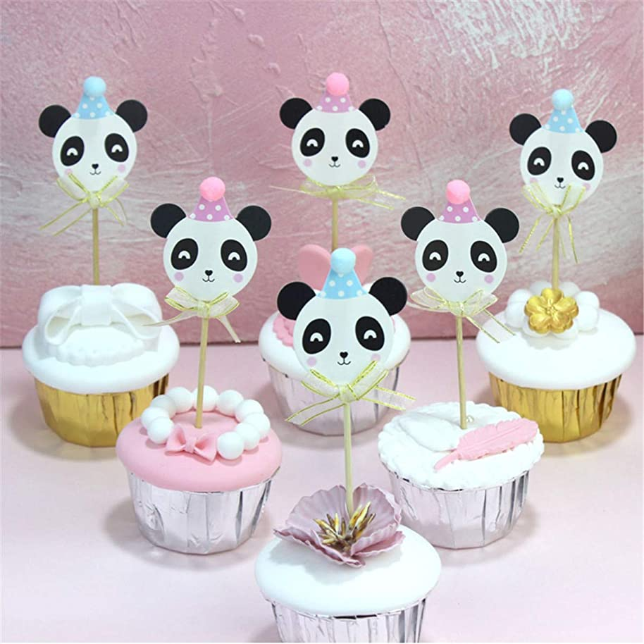 6 Pcs/lot Kawaii Cartoon Panda Bear Paper Cake Topper Decor Birthday Wedding Party Supplies