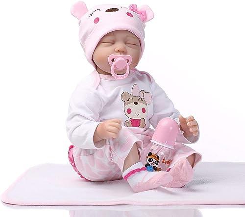 Kongqiabona 55cm Sch  Niedliche Schlafende Puppe Weißen   Silikon Denim Kleid Reborn Baby Puppe Spielzeug Für mädchen Früherziehung Spielzeug