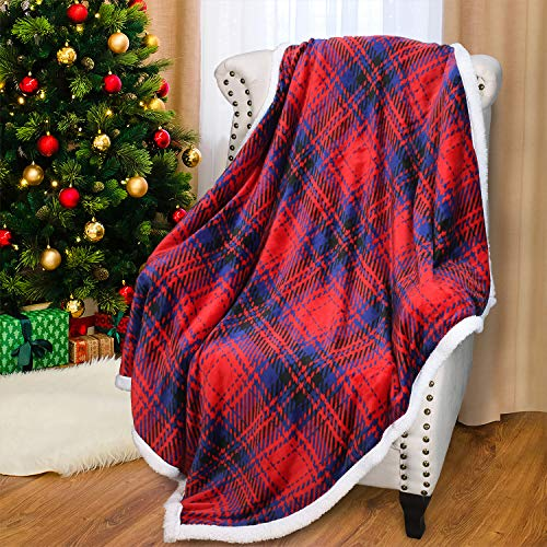 Catalonia Red Plaid Sherpa Throw Blanket, Super Soft Throw for Sofa Couch Bed, TV Blanket, Micro Mink Fleece Plush, Comfy Cozy Fluffy Warm, (60x50 Inches, Buffalo)