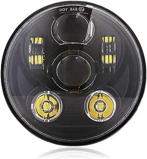 5-3/4 5.75 LED Headlight Round Motorcycle Headlamp for Harley Davidson Sportster 883 Dyna Street Bob Night Train Rod - Black