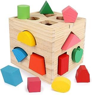 BeebeeRun 型はめパズルボックス 木製キューブパズル 型はめ遊び 知育玩具 14ピース 木のおもちゃ 形合わせ 図形認知 木製おもちゃ カラフルブロック 積み木 立体パズル 早期学習教育 色彩感覚 はめこみ ラーニングボックス ベビー ...