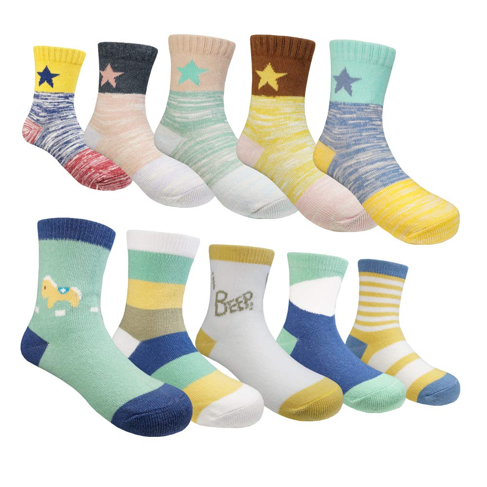 Horse 5 Pairs Colorful Cotton Crew Seamless Socks for Kids Toddler Big Little Boys Girls