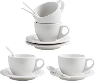 XUFENG 8oz Cappuccino Cups Set of 4 with Saucer White Porcelain for Latte, Mocha,Cafe with Porcelain Spoon