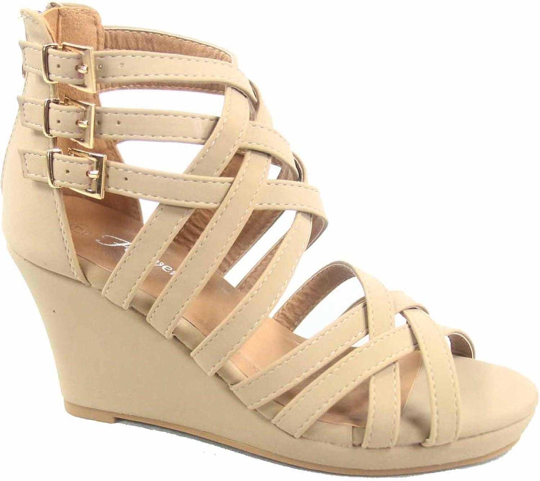 Forever Link Sammy -76 Kvinnors Zipper Buckles Buckles Buckles Strappy Open Toe Wedge Platform Sandal skor  mode