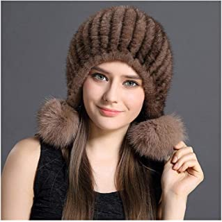 Women's Warm Knit Hat with Fox Pompom, Real Mink Hair Winter Soft Beanie Hat Casual Acrylic Cap Beret Stretch Hat for Cycling, Outdoor Ski Cap
