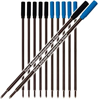 Jaymo 6 Black and 6 Blue = 12 Cross Compatible Ballpoint Pen Refills. Smooth Writing German Ink and 1mm Medium Tip. #8511 ...