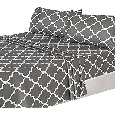Utopia Bedding 4 Piece Bed Sheets Set (King, Grey) 1 Flat Sheet 1 Fitted Sheet and 2 Pillow Cases - Hotel Quality Brushed Velvety Microfiber - Luxurious - Extremely Durable
