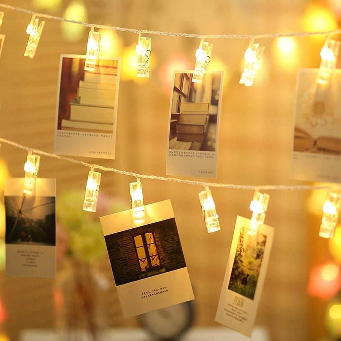 温室櫛歌TECKEPIC LEDストリングライト 20LED写真/絵クリップ DIY吊り下げる飾り 2.2M イルミネーションライト 電池駆動式 クリスマス/新年/結婚式/誕生日/パーティー (ウォームホワイト)
