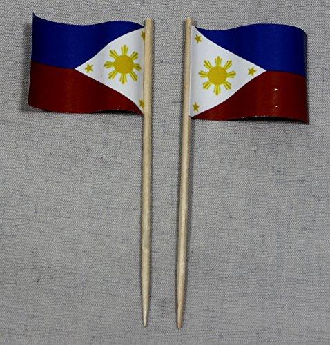 Buddel-Bini Party-Picker Flagge Philippinen Papierfähnchen in Profiqualität 50 Stück Beutel Offsetdruck Riesenauswahl aus eigener Herstellung