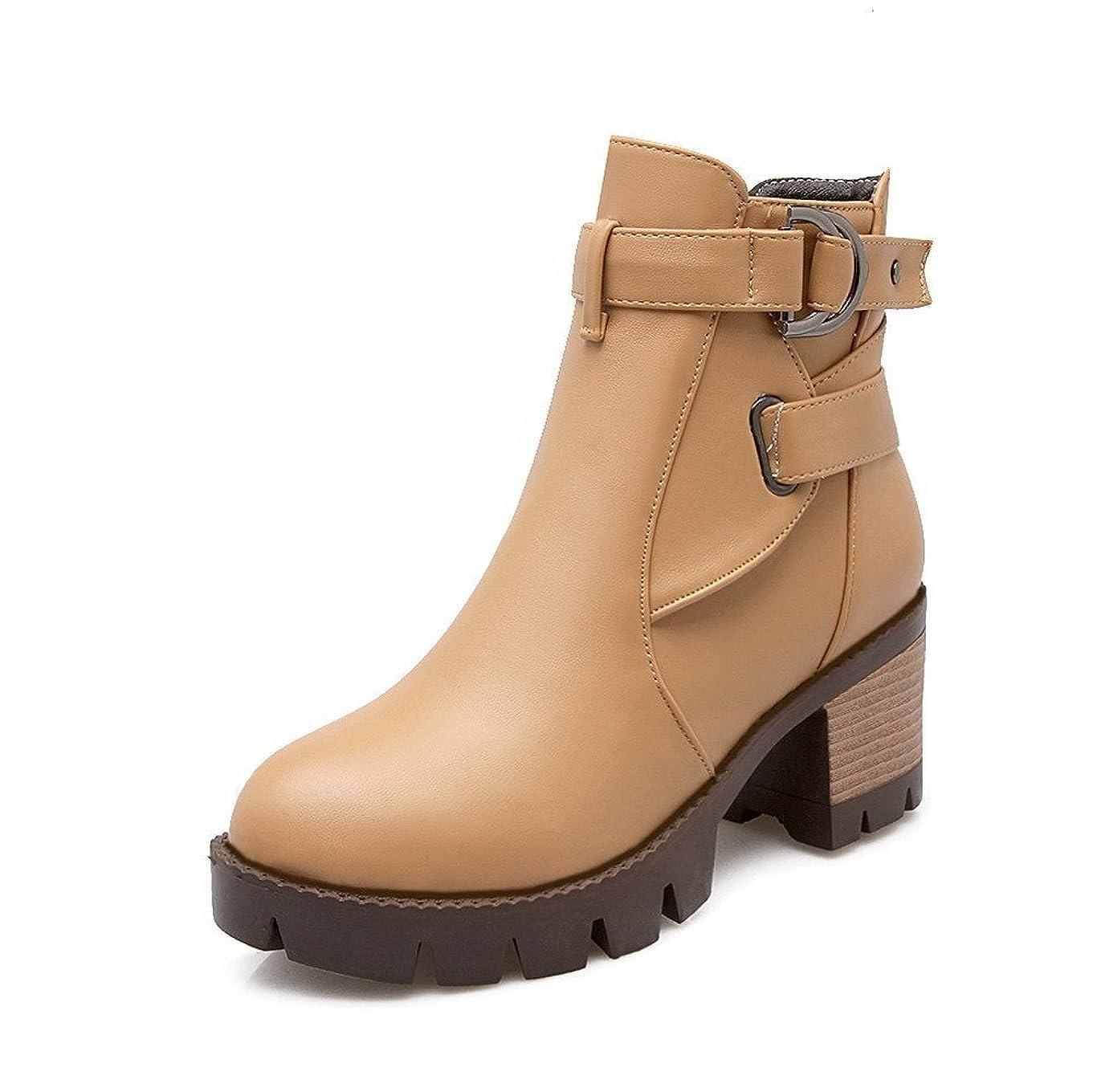 ご近所ギャラリー退化する[ヴォーグゾーン009] 女性用 PUの皮 中ヒール ラウンドトゥ 純色 ジッパー ブーツ