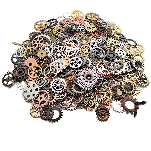 Chunky metal steampunk gear wheels 500g per bag.(Sold by weight) Steamppunk gear wheels are in 9 colours: Golden, Silver, Black, Rose golden, Copper, Bronze, Brass, Ancient Silver, Iron black. Cyberpunk cogs are in various designs and sizes. Diameter...