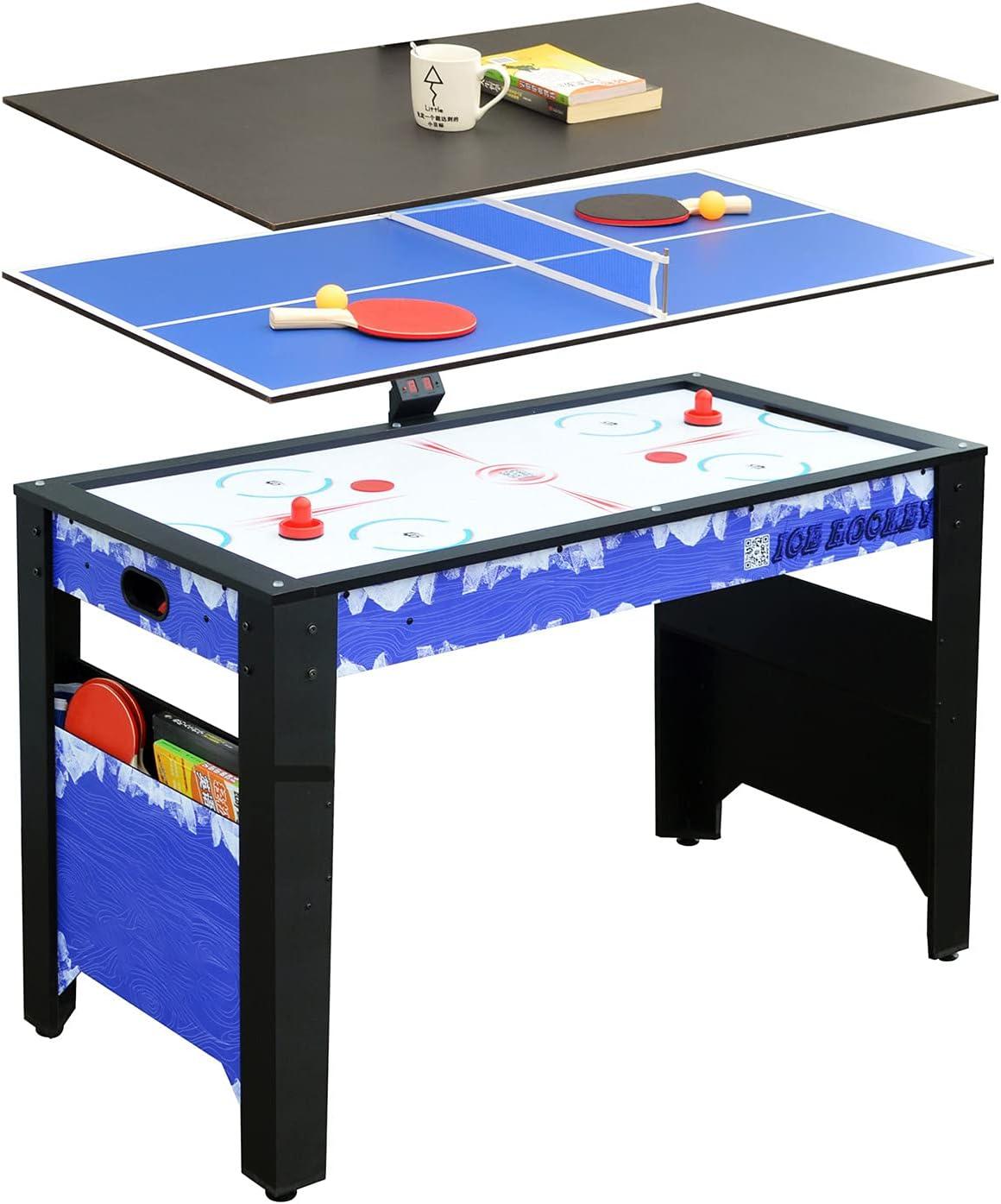 MYRCLMY 3 En 1 Mesa De Juego Combinada, Mesa De Hockey De Aire con Puntuación Electrónica, Escritorio Compacto, Mini Ping-Pong Mesa, para Niños Mesas De Billar para Adultos