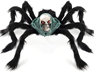 Coogam Halloween Giant Spider Decoration, Large Jumbo Horror Skeleton Spider Prank Prop Scarf Foam Props for Indoor Outdoor Yard Scary Realistic Araneid Hallowmas Party Supplies Décor ( 2.3Ft )
