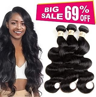 VIOLET Brazilian Body Wave Human Hair 3 Bundles Same Length 16 16 16 inch, 100% Unprocessed Human Hair Weave Bundles Natural Black Color