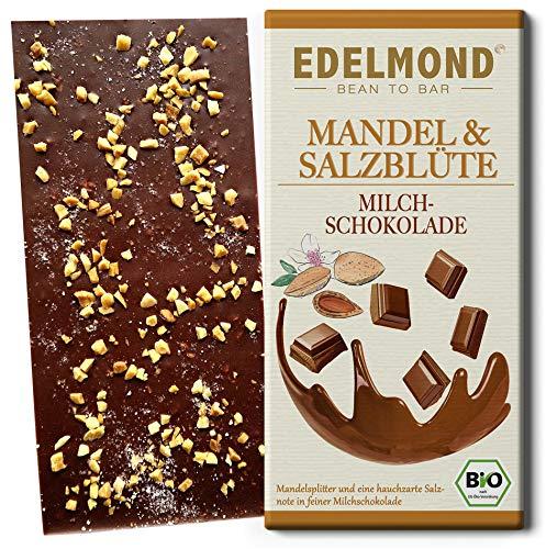Edelmond Bio Mandel & Salz Milch-Schokolade mit gutem 54% Kakaoanteil. Passt toll zum Wein. Fair Trade Kakaobohnen und geröstete Mandel (1 Tafel)