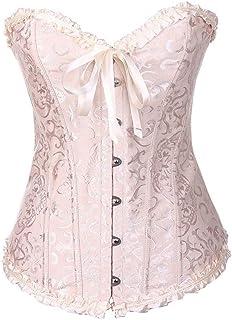 76407b00f07 Yu Li Women Lace Boned Plus Size Corset Overbust Bustier Top Waist Cincher  Bodyshaper
