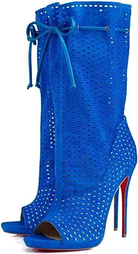 FLYA Talons Hauts Sexy à à à Talons Creux pour Femmes - Bottes fraîches,bleu-41EU 259