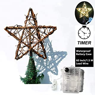 Christmas Tree Topper Star, 10 Inch Rustic Natural Rattan Treetop Star with Timer Waterproof Battery Case and Warm White LED 15-lights for Outdoor Indoor Home Ornaments and Holiday Seasonal Decor.
