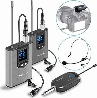 هدست بی سیم سیستم میکروفون Lavalier -Alvoxcon میکروفون دوگانه بی سیم برای آی فون ، دوربین DSLR ، بلندگو PA ، یوتیوب ، پادکست ، ضبط ویدیو ، کنفرانس ، Vlogging ، کلیسا ، مصاحبه ، آموزش