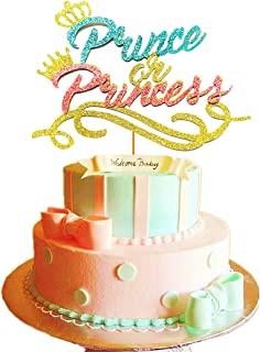 JeVenis Prince or Princess Cake Topper Prince or Princess Gender Reveal Cake Topper Prince or Princess Baby Shower Cake Topper Boy or Girl Cake Topper