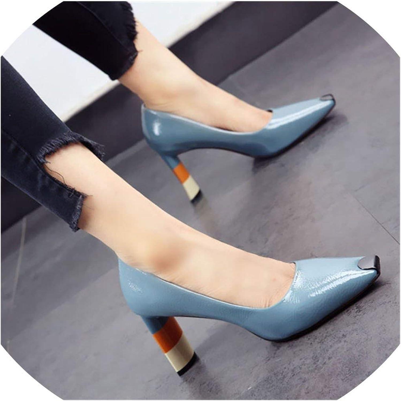 colord Heel Women High Heel shoes Metal Square Toe Girls Party Wedding shoes Women Pumps High Heels
