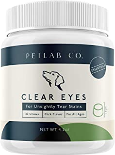 Petlab Co. Clear Eyes for Unsightly Tear Stains | Tasty Chews to Support Eye Function Maintain Ocular Health | Sea Kelp, Cranberry, Vitamin C, Marshmallow Root, Eyebright Herb, Alpha-Linolenic Acid