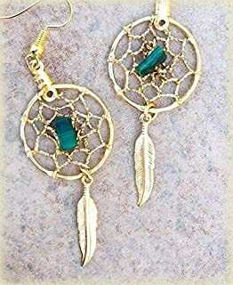 PENDIENTES DE DREAMCATCHER, Malaquita, aretes de oro para atrapasueños, plumas de oro, joyas indias, cristal, nativo americano, boho
