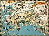 子供と大人のためのジグソーパズル1000ピースに挑戦 アラスカのピース楽しい漫画マップ 厚いパズル、すべてのピースがユニークで、背中に文字が書かれたパズル