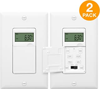 ENERLITES Programmable Digital Timer Switch for Lights, Fans, Motors, 7-Day 18 ON/OFF Timer Settings, Single Pole, Neutral Wire Required, UL Listed, HET01-C-2PCS, White, 2 Pack