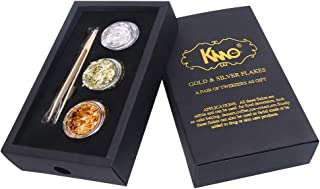 KINNO Edible 24K Yellow Gold Leaf Flakes - 18K Gold Flakes - Genuine Silver Flakes & Tweezers Set for for Makeup, Spa, Crafts, Gilding, Art, Bakery and Drink (Pure Gold + Silver + 18K Gold)