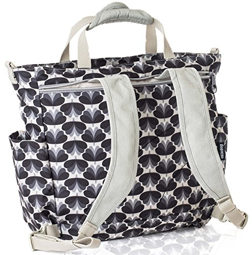 okiedog SUMO 39071 flexible Wickeltasche mit Henkel, Schultergurt, Rucksack Tragegurten, Wickelunterlage, isolierter Flaschenhalter und Zubehörbeutel, Blossom grau weiß, ca. 47 x 40 x 14 cm