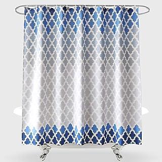 Dolii Geometric Fabric Shower Curtain, Blue White Gradient Hexagonal Morocco Biscaynebay Modern Waterproof Polyester Bath ...