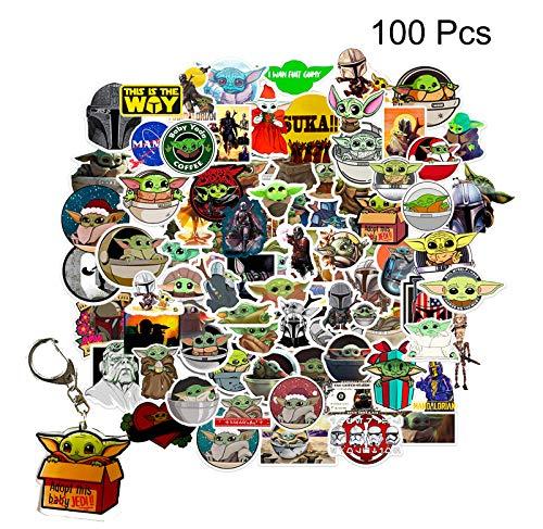 GTOTd Aufkleber für Mandalorian, 100 Stück, Vinyl-Aufkleber für Laptop, Wasserflasche, Teenager, Autos, Geschenk, Filmsammlung (mit Yoda Baby Schlüsselanhänger)